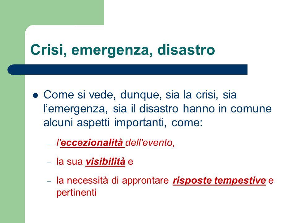 Crisi, emergenza, disastro Come si vede, dunque, sia la crisi, sia l'emergenza, sia il disastro hanno in comune alcuni aspetti importanti, come: – l'e