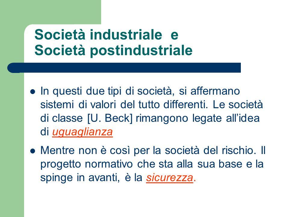 Società industriale e Società postindustriale In questi due tipi di società, si affermano sistemi di valori del tutto differenti. Le società di classe