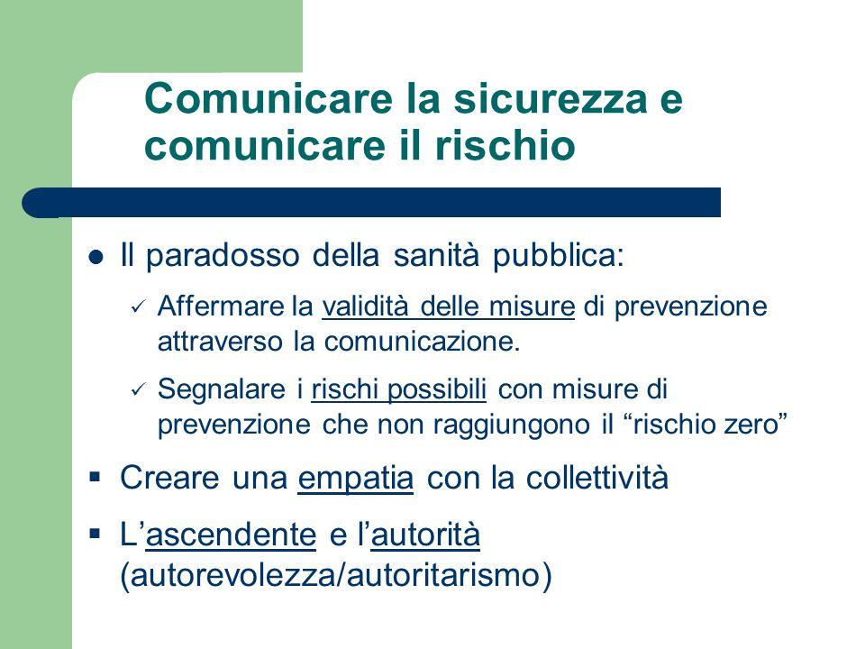 Comunicare la sicurezza e comunicare il rischio Il paradosso della sanità pubblica: Affermare la validità delle misure di prevenzione attraverso la co