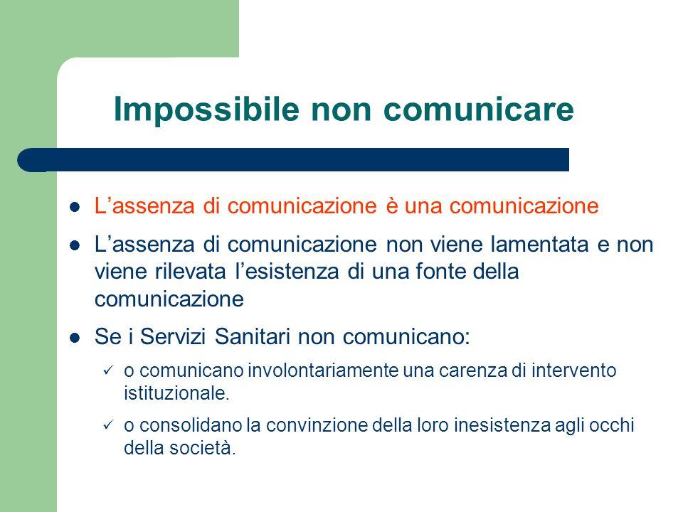 Impossibile non comunicare L'assenza di comunicazione è una comunicazione L'assenza di comunicazione non viene lamentata e non viene rilevata l'esiste