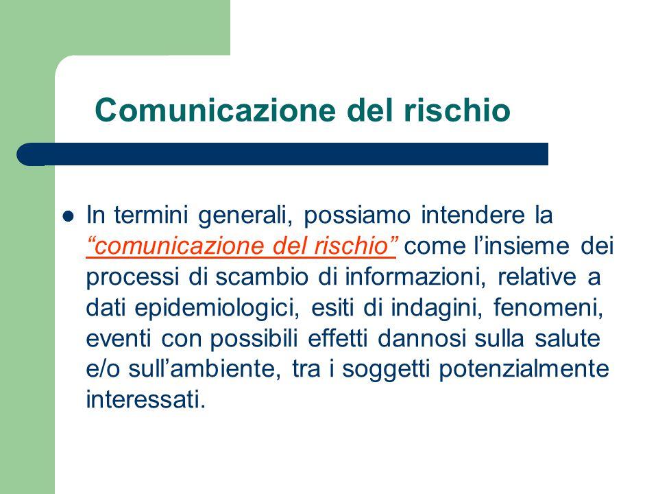 """Comunicazione del rischio In termini generali, possiamo intendere la """"comunicazione del rischio"""" come l'insieme dei processi di scambio di informazion"""
