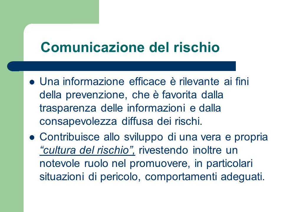 Comunicazione del rischio Una informazione efficace è rilevante ai fini della prevenzione, che è favorita dalla trasparenza delle informazioni e dalla