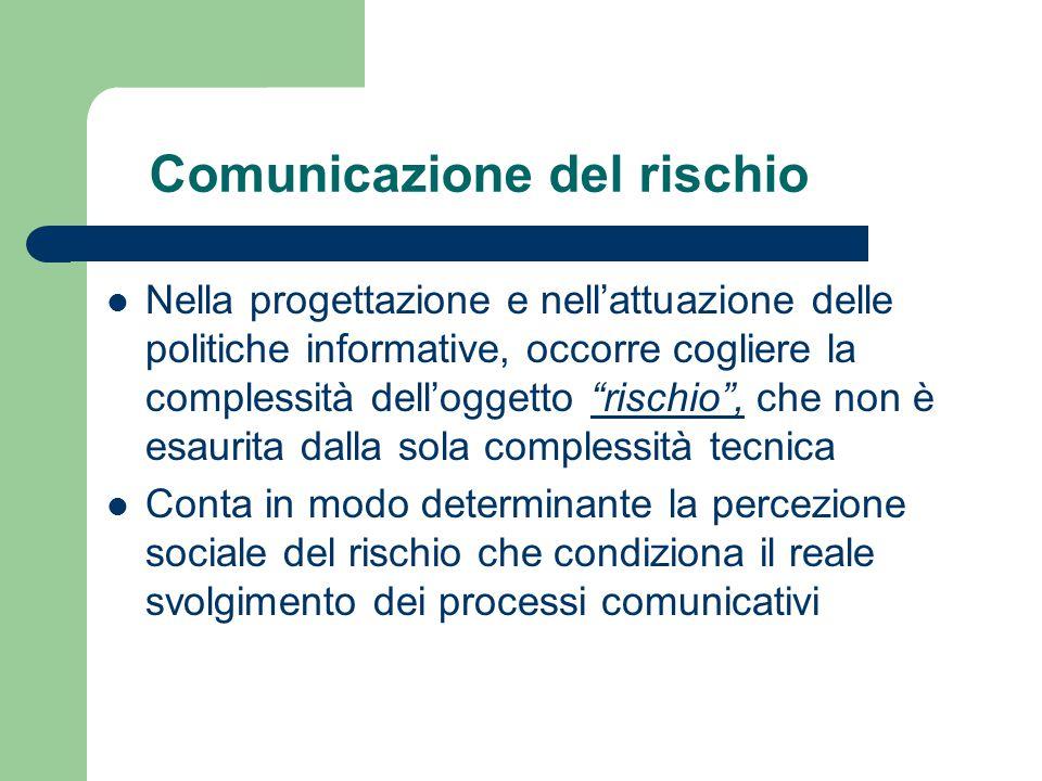 """Comunicazione del rischio Nella progettazione e nell'attuazione delle politiche informative, occorre cogliere la complessità dell'oggetto """"rischio"""", c"""