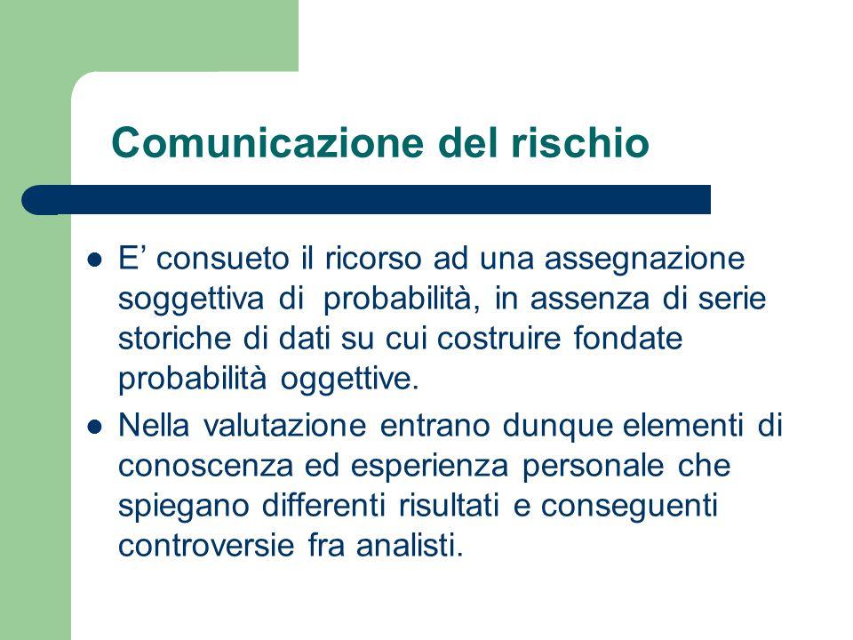 Comunicazione del rischio E' consueto il ricorso ad una assegnazione soggettiva di probabilità, in assenza di serie storiche di dati su cui costruire