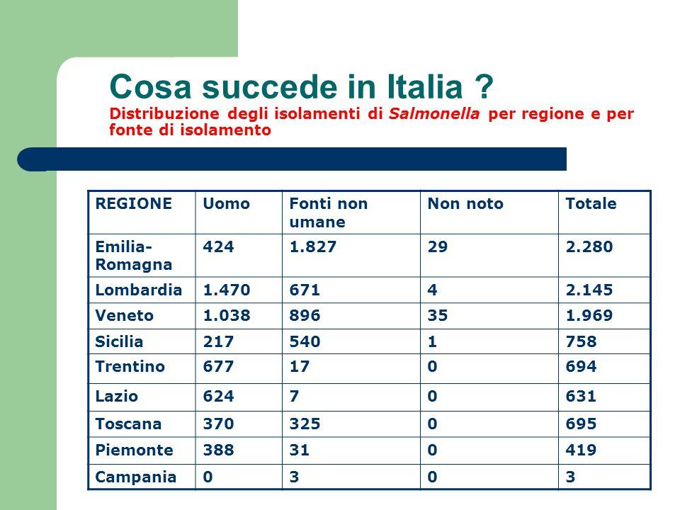 Cosa succede in Italia ? Distribuzione degli isolamenti di Salmonella per regione e per fonte di isolamento REGIONEUomoFonti non umane Non notoTotale