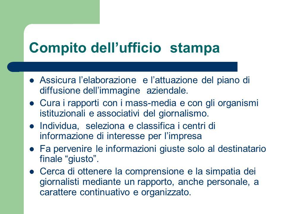 Compito dell'ufficio stampa Assicura l'elaborazione e l'attuazione del piano di diffusione dell'immagine aziendale. Cura i rapporti con i mass-media e