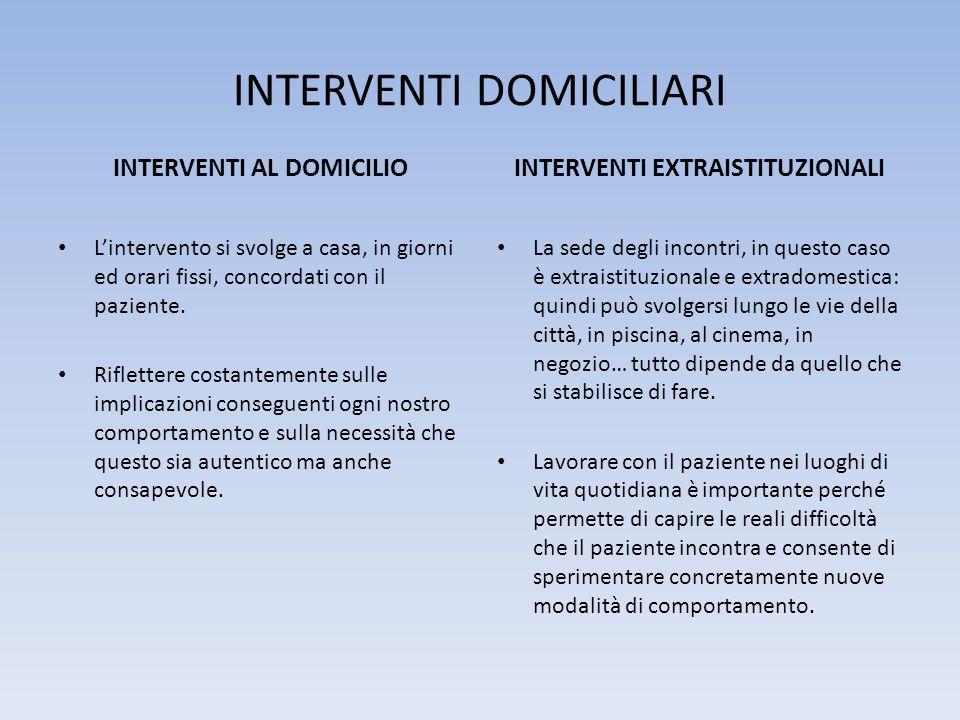 INTERVENTI DOMICILIARI INTERVENTI AL DOMICILIO L'intervento si svolge a casa, in giorni ed orari fissi, concordati con il paziente.