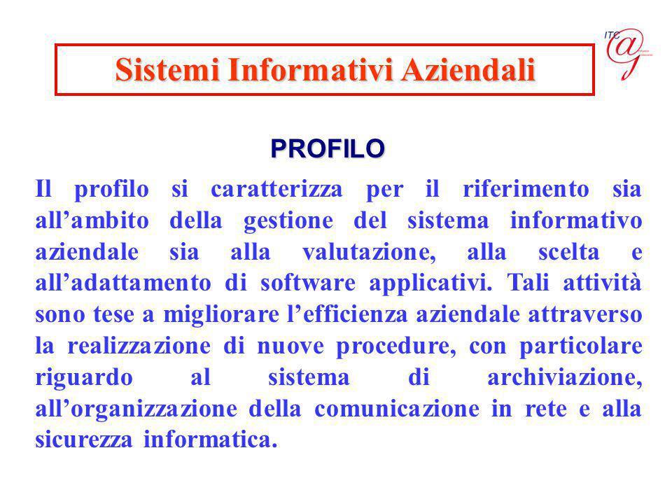 Sistemi Informativi Aziendali PROFILO Il profilo si caratterizza per il riferimento sia all'ambito della gestione del sistema informativo aziendale sia alla valutazione, alla scelta e all'adattamento di software applicativi.