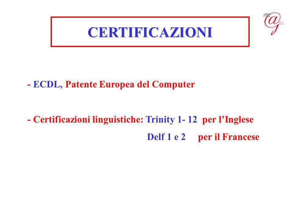 - ECDL, Patente Europea del Computer - Certificazioni linguistiche: Trinity 1- 12 per l'Inglese Delf 1 e 2 per il Francese CERTIFICAZIONI