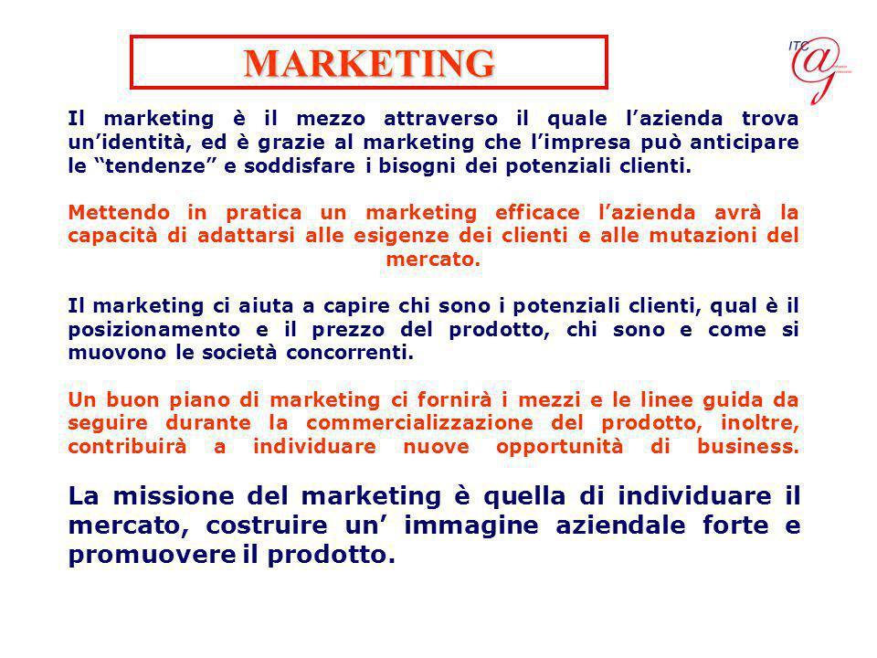 Il marketing è il mezzo attraverso il quale l'azienda trova un'identità, ed è grazie al marketing che l'impresa può anticipare le tendenze e soddisfare i bisogni dei potenziali clienti.