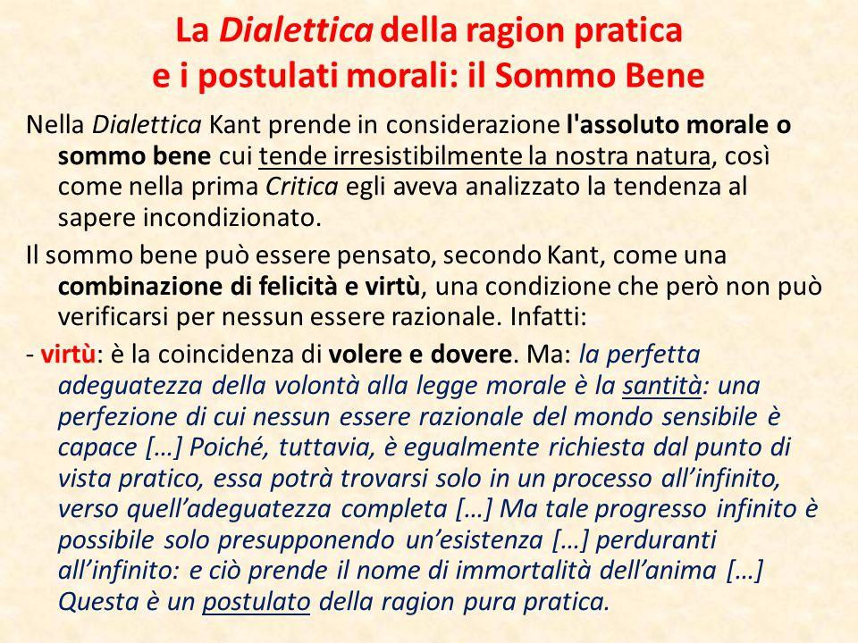 La Dialettica della ragion pratica e i postulati morali: il Sommo Bene Nella Dialettica Kant prende in considerazione l'assoluto morale o sommo bene c