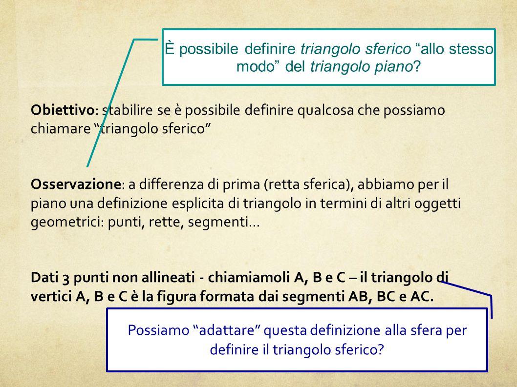 Triangolo sferico Obiettivo: stabilire se è possibile definire qualcosa che possiamo chiamare triangolo sferico Osservazione: a differenza di prima (retta sferica), abbiamo per il piano una definizione esplicita di triangolo in termini di altri oggetti geometrici: punti, rette, segmenti...