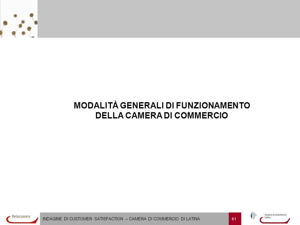 INDAGINE DI CUSTOMER SATISFACTION – CAMERA DI COMMERCIO DI LATINA 61 MODALITÀ GENERALI DI FUNZIONAMENTO DELLA CAMERA DI COMMERCIO