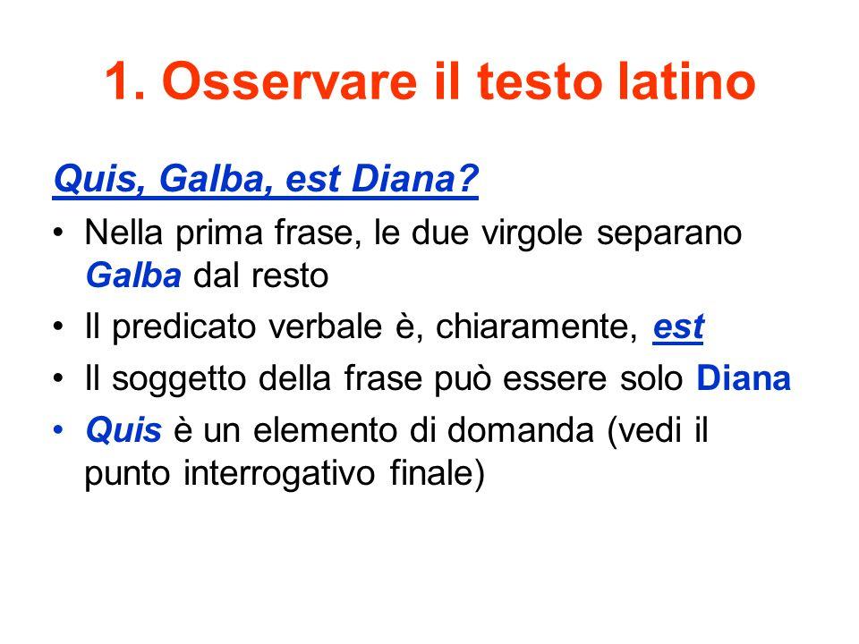 1. Osservare il testo latino Quis, Galba, est Diana? Nella prima frase, le due virgole separano Galba dal resto Il predicato verbale è, chiaramente, e