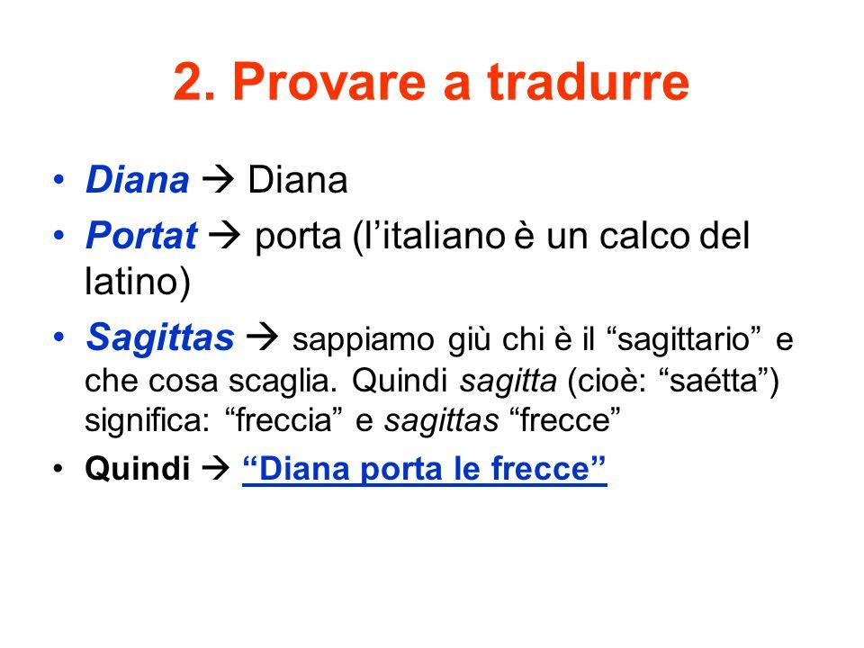 """2. Provare a tradurre Diana  Diana Portat  porta (l'italiano è un calco del latino) Sagittas  sappiamo giù chi è il """"sagittario"""" e che cosa scaglia"""