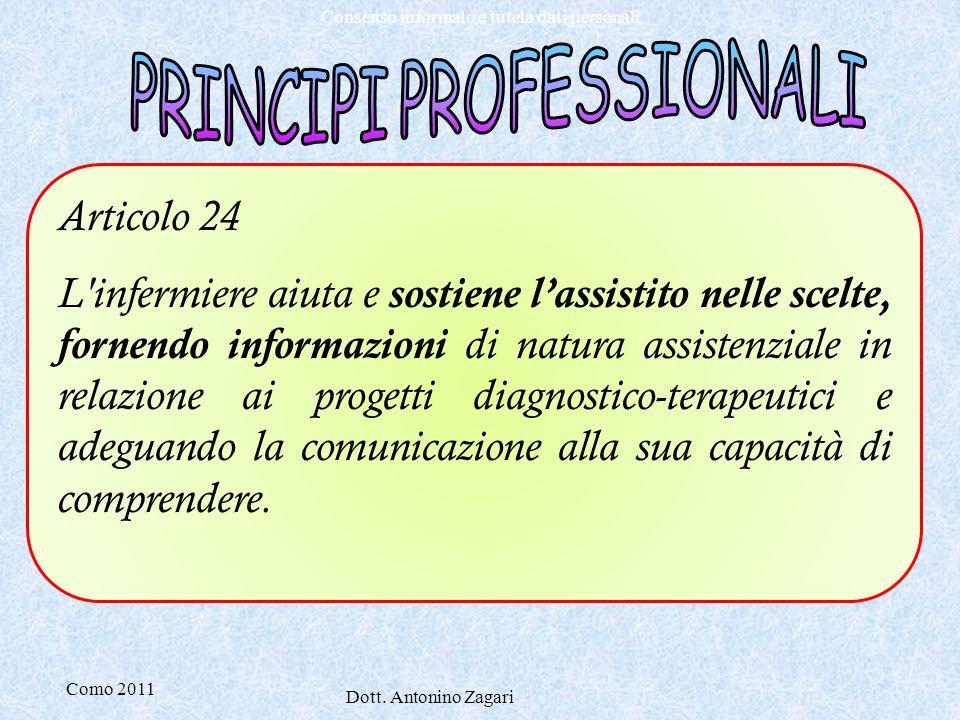 Como 2011 Dott. Antonino Zagari Consenso informato e tutela dati personali Articolo 24 L'infermiere aiuta e sostiene l'assistito nelle scelte, fornend