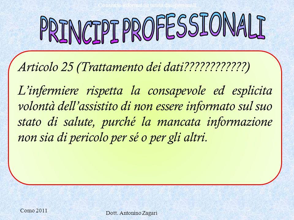 Como 2011 Dott. Antonino Zagari Consenso informato e tutela dati personali Articolo 25 (Trattamento dei dati????????????) L'infermiere rispetta la con