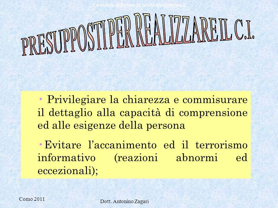 Como 2011 Dott. Antonino Zagari Consenso informato e tutela dati personali Privilegiare la chiarezza e commisurare il dettaglio alla capacità di compr