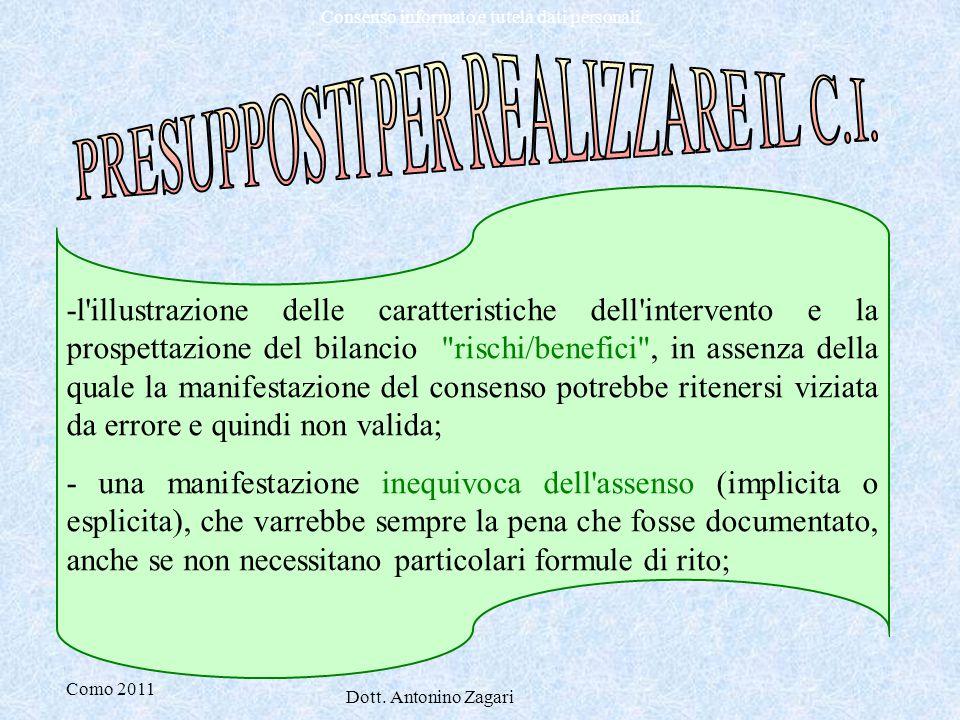 Como 2011 Dott. Antonino Zagari Consenso informato e tutela dati personali -l'illustrazione delle caratteristiche dell'intervento e la prospettazione
