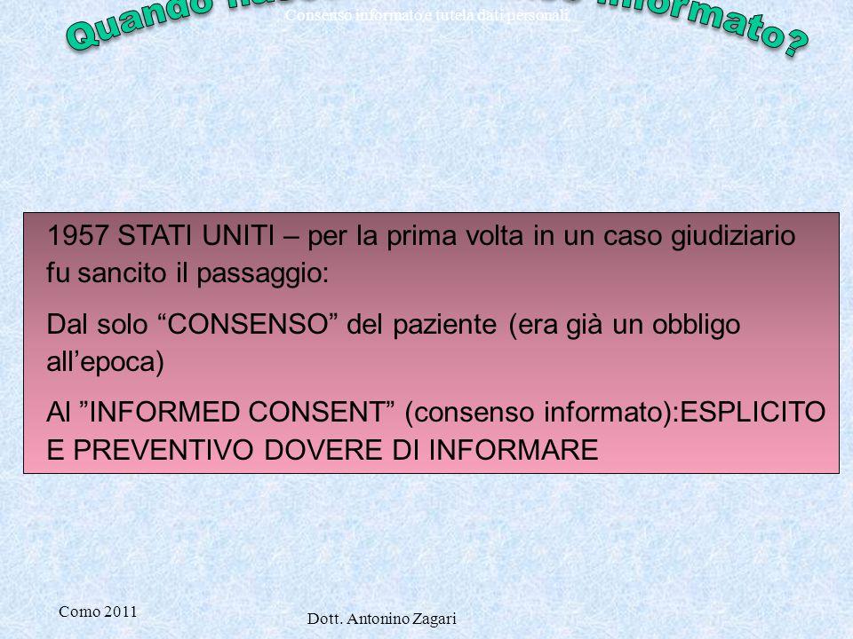 Como 2011 Dott. Antonino Zagari Consenso informato e tutela dati personali 1957 STATI UNITI – per la prima volta in un caso giudiziario fu sancito il