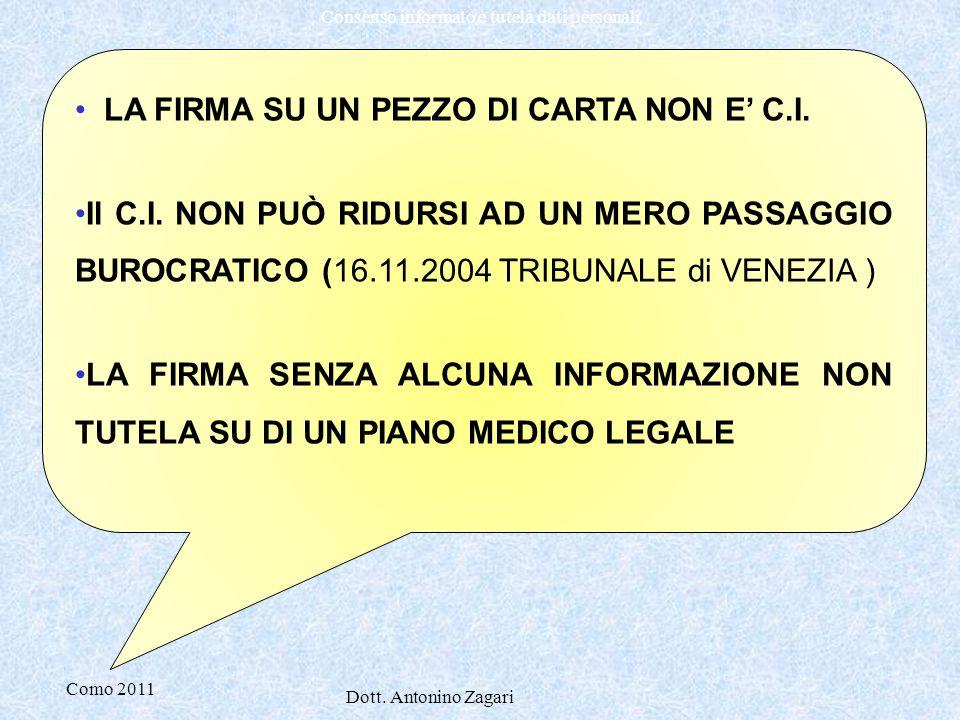 Como 2011 Dott. Antonino Zagari Consenso informato e tutela dati personali LA FIRMA SU UN PEZZO DI CARTA NON E' C.I. Il C.I. NON PUÒ RIDURSI AD UN MER