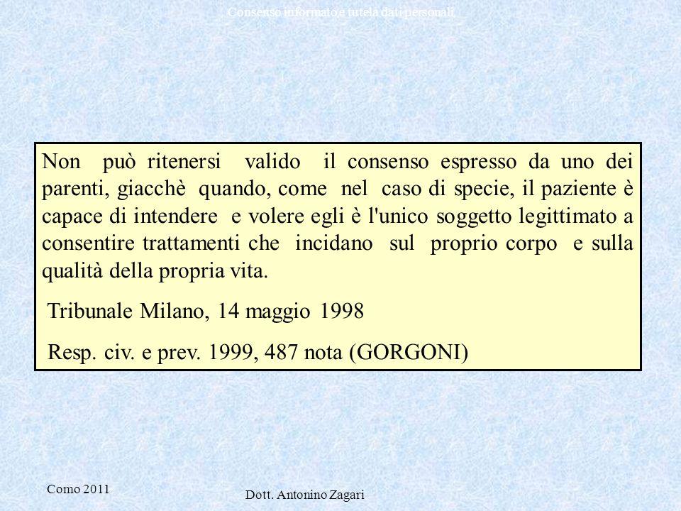 Como 2011 Dott. Antonino Zagari Consenso informato e tutela dati personali Non può ritenersi valido il consenso espresso da uno dei parenti, giacchè q