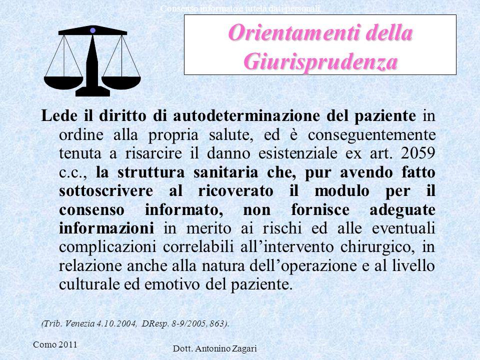 Como 2011 Dott. Antonino Zagari Consenso informato e tutela dati personali Orientamenti della Giurisprudenza Lede il diritto di autodeterminazione del