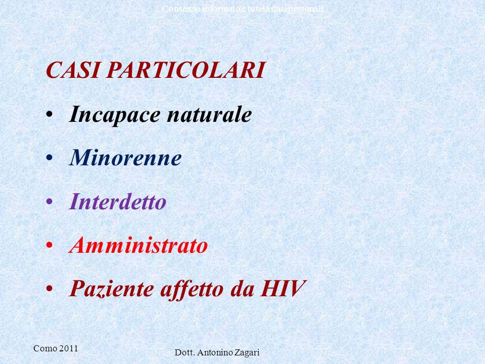 Como 2011 Dott. Antonino Zagari Consenso informato e tutela dati personali CASI PARTICOLARI Incapace naturale Minorenne Interdetto Amministrato Pazien