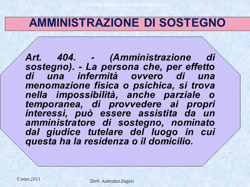 Como 2011 Dott. Antonino Zagari Consenso informato e tutela dati personali Art. 404. - (Amministrazione di sostegno). - La persona che, per effetto di
