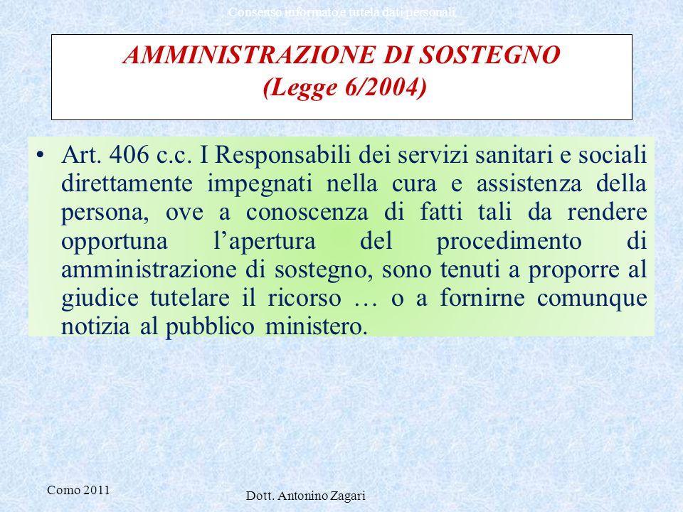 Como 2011 Dott. Antonino Zagari Consenso informato e tutela dati personali AMMINISTRAZIONE DI SOSTEGNO (Legge 6/2004) Art. 406 c.c. I Responsabili dei