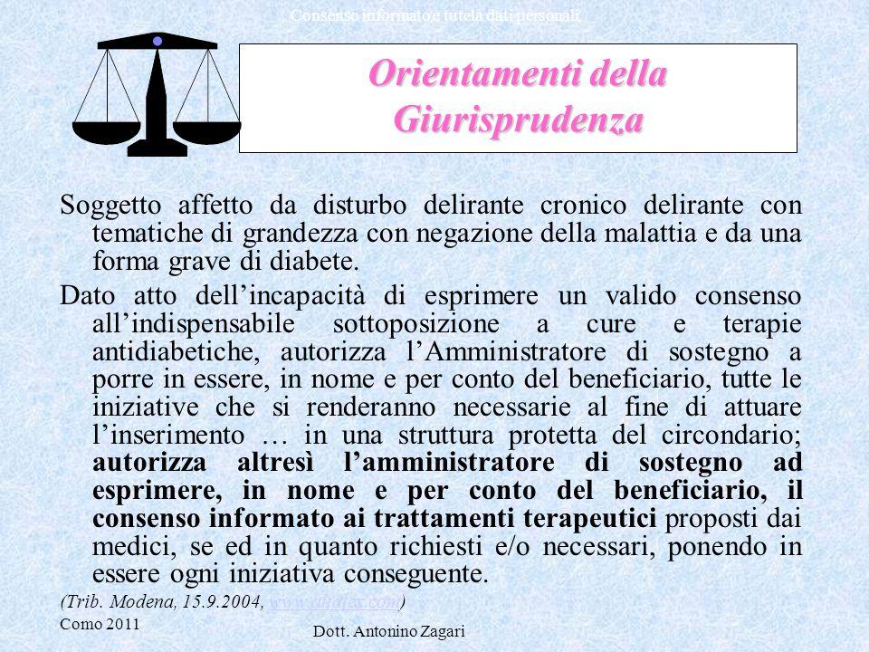 Como 2011 Dott. Antonino Zagari Consenso informato e tutela dati personali Orientamenti della Giurisprudenza Soggetto affetto da disturbo delirante cr