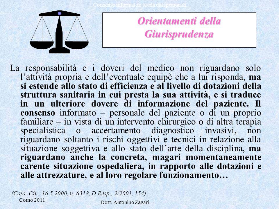 Como 2011 Dott. Antonino Zagari Consenso informato e tutela dati personali Orientamenti della Giurisprudenza La responsabilità e i doveri del medico n