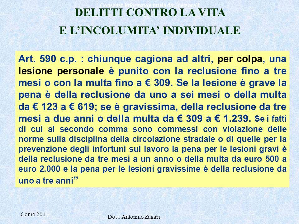 Como 2011 Dott. Antonino Zagari Consenso informato e tutela dati personali : DELITTI CONTRO LA VITA E L'INCOLUMITA' INDIVIDUALE Art. 590 c.p. : chiunq