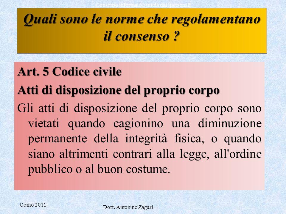 Como 2011 Dott. Antonino Zagari Consenso informato e tutela dati personali Art. 5 Codice civile Atti di disposizione del proprio corpo Gli atti di dis
