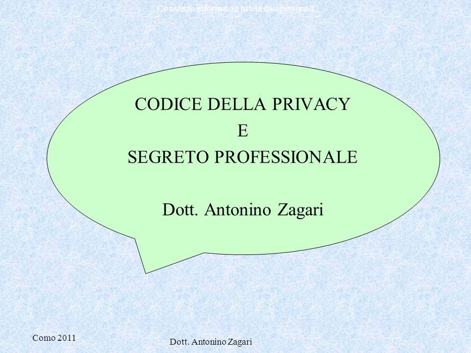 Como 2011 Dott. Antonino Zagari Consenso informato e tutela dati personali CODICE DELLA PRIVACY E SEGRETO PROFESSIONALE Dott. Antonino Zagari