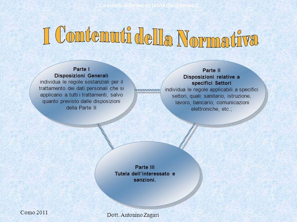Como 2011 Dott. Antonino Zagari Consenso informato e tutela dati personali Parte I Disposizioni Generali individua le regole sostanziali per il tratta