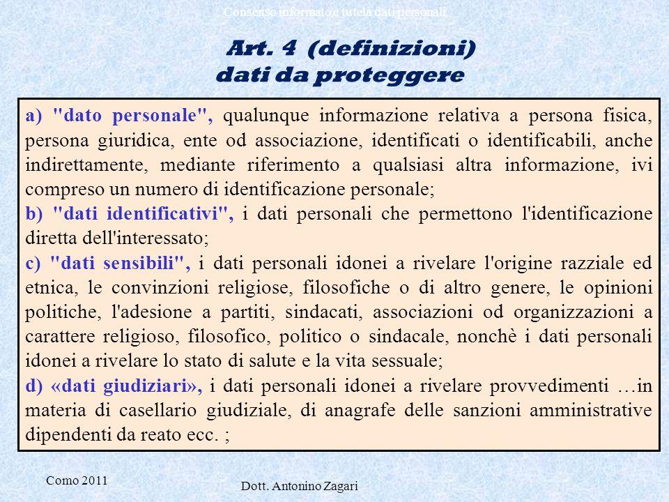 Como 2011 Dott. Antonino Zagari Consenso informato e tutela dati personali Art. 4 (definizioni) dati da proteggere a)