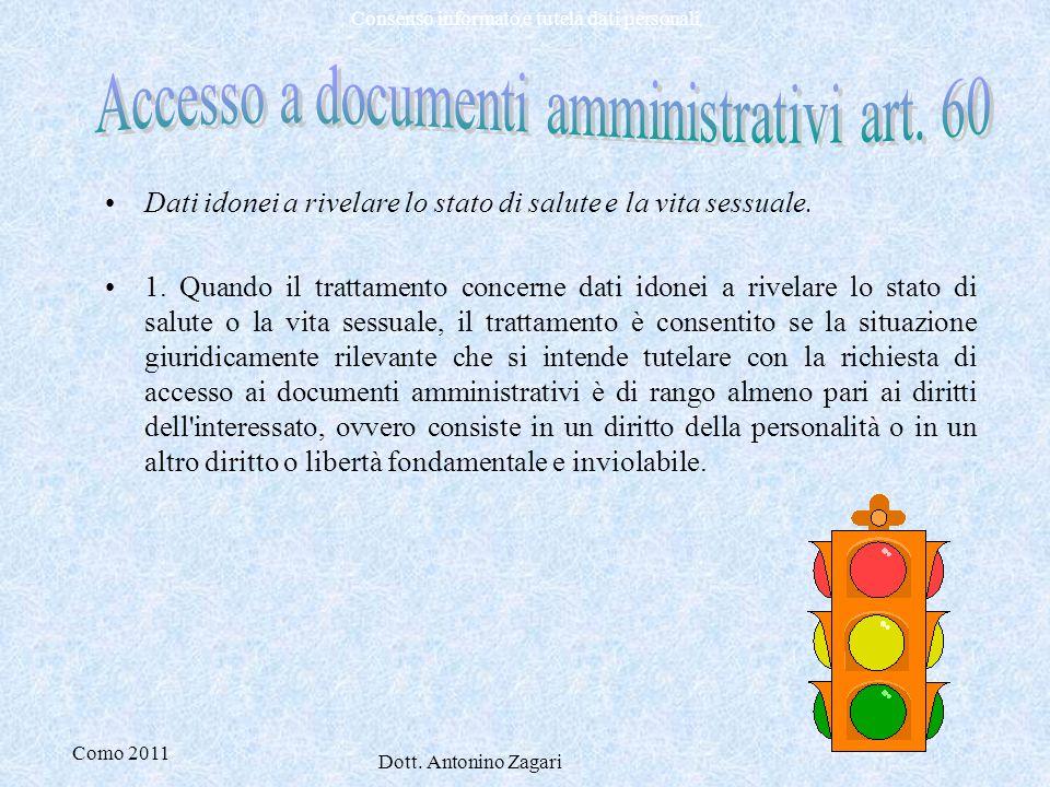 Como 2011 Dott. Antonino Zagari Consenso informato e tutela dati personali Dati idonei a rivelare lo stato di salute e la vita sessuale. 1. Quando il
