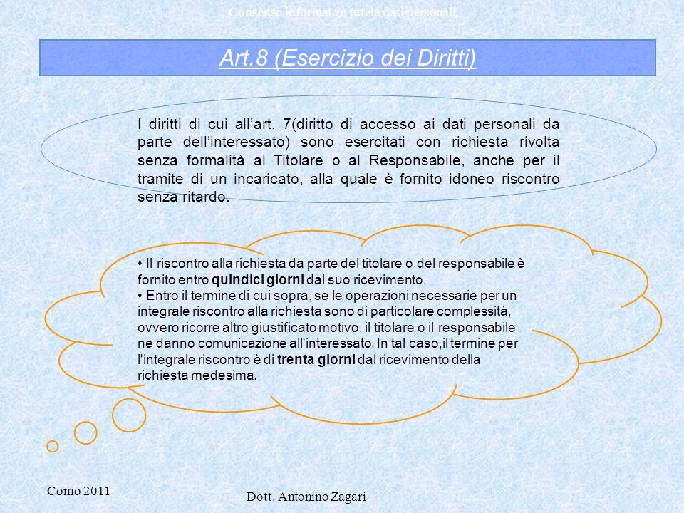 Como 2011 Dott. Antonino Zagari Consenso informato e tutela dati personali Art.8 (Esercizio dei Diritti) I diritti di cui all'art. 7(diritto di access