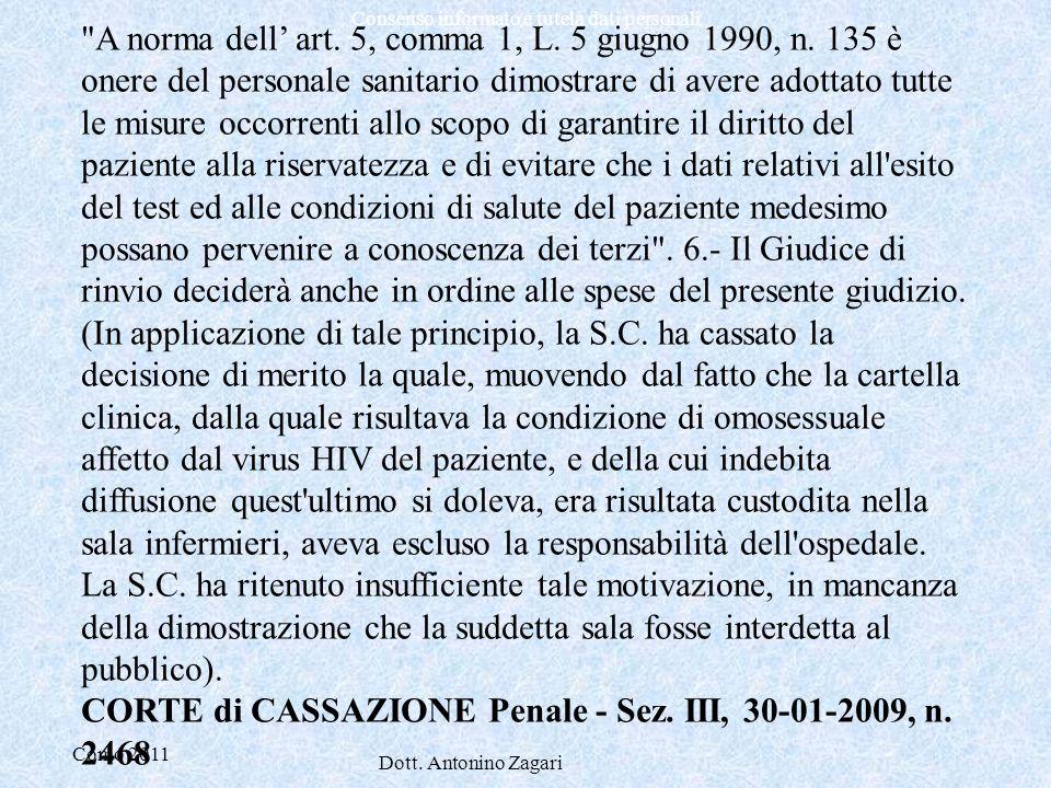 Como 2011 Dott. Antonino Zagari Consenso informato e tutela dati personali