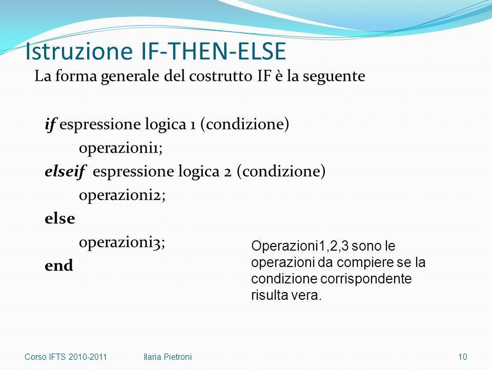 Istruzione IF-THEN-ELSE La forma generale del costrutto IF è la seguente if espressione logica 1 (condizione) operazioni1; elseif espressione logica 2 (condizione) operazioni2; else operazioni3; end Operazioni1,2,3 sono le operazioni da compiere se la condizione corrispondente risulta vera.