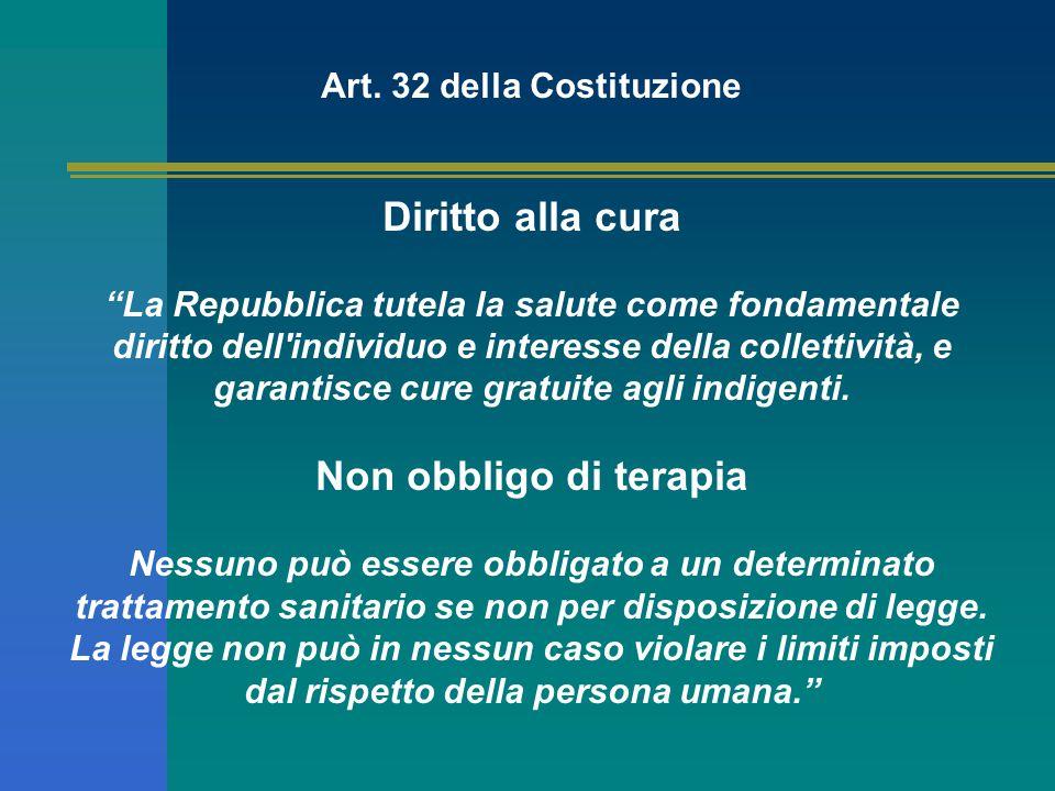 """Art. 32 della Costituzione Diritto alla cura """"La Repubblica tutela la salute come fondamentale diritto dell'individuo e interesse della collettività,"""