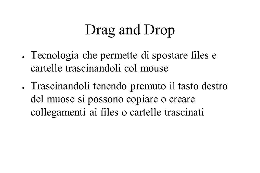 Drag and Drop ● Tecnologia che permette di spostare files e cartelle trascinandoli col mouse ● Trascinandoli tenendo premuto il tasto destro del muose