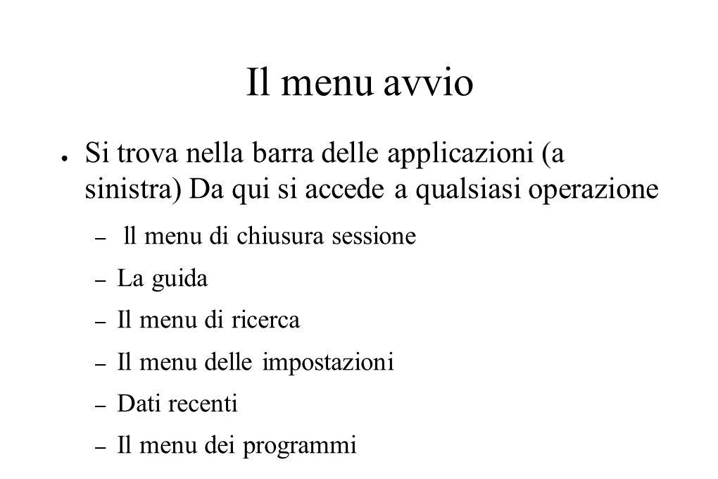 Il menu avvio ● Si trova nella barra delle applicazioni (a sinistra) Da qui si accede a qualsiasi operazione – ll menu di chiusura sessione – La guida – Il menu di ricerca – Il menu delle impostazioni – Dati recenti – Il menu dei programmi