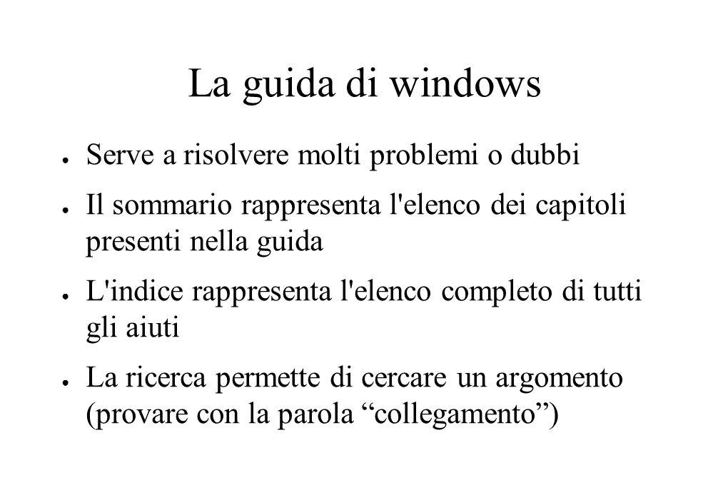 La guida di windows ● Serve a risolvere molti problemi o dubbi ● Il sommario rappresenta l'elenco dei capitoli presenti nella guida ● L'indice rappres