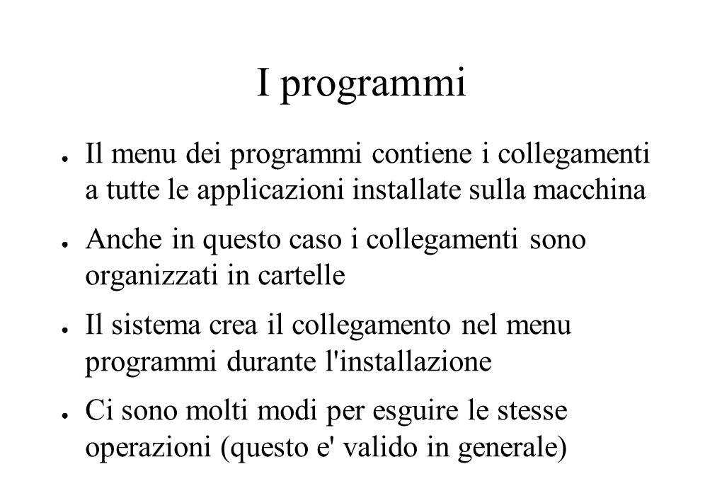 I programmi ● Il menu dei programmi contiene i collegamenti a tutte le applicazioni installate sulla macchina ● Anche in questo caso i collegamenti so