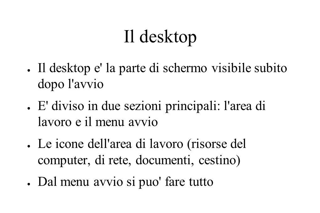Il desktop ● Il desktop e' la parte di schermo visibile subito dopo l'avvio ● E' diviso in due sezioni principali: l'area di lavoro e il menu avvio ●