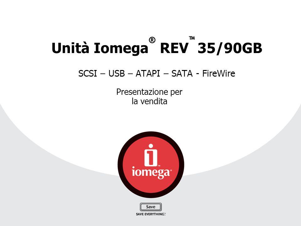 Unità Iomega ® REV ™ 35/90GB SCSI – USB – ATAPI – SATA - FireWire Presentazione per la vendita