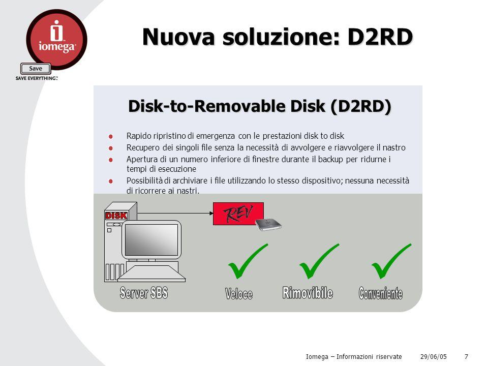 29/06/05 Iomega – Informazioni riservate 7 Nuova soluzione: D2RD Disk-to-Removable Disk (D2RD) Rapido ripristino di emergenza con le prestazioni disk
