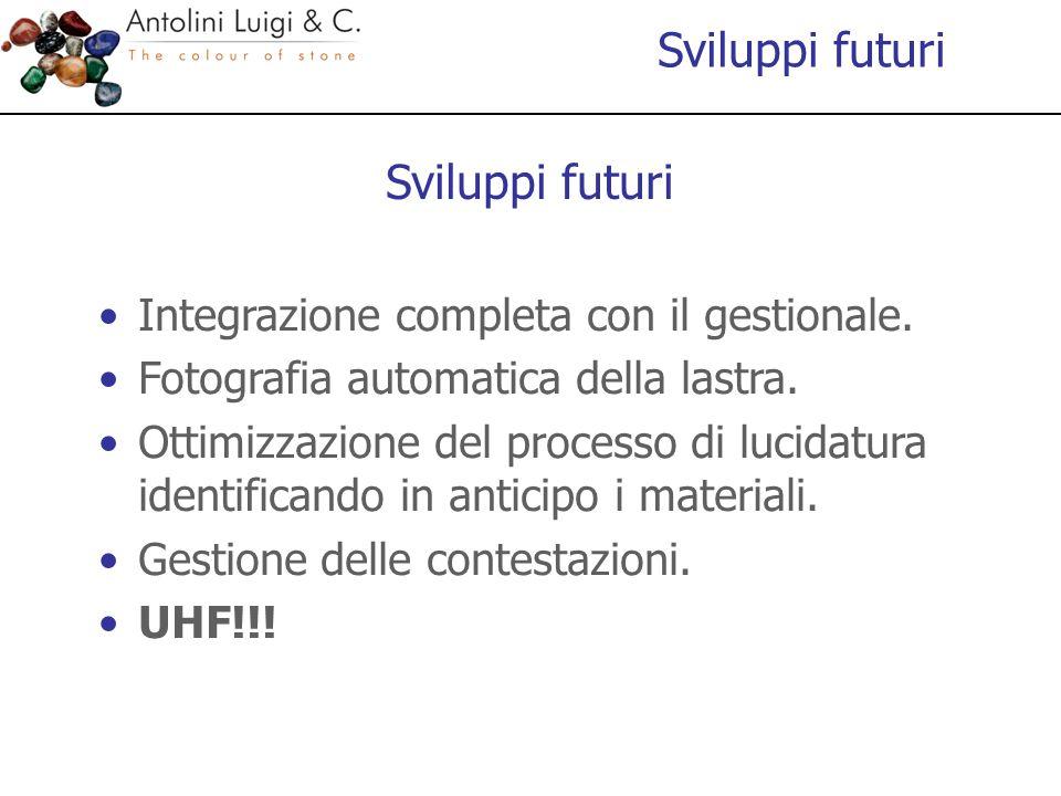 Sviluppi futuri Integrazione completa con il gestionale. Fotografia automatica della lastra. Ottimizzazione del processo di lucidatura identificando i
